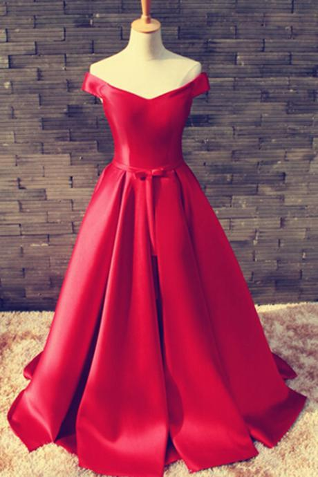 red Prom Dresses,2017 Evening Gown,best sale Prom Gown,off shoulder prom dress, party dress on sale