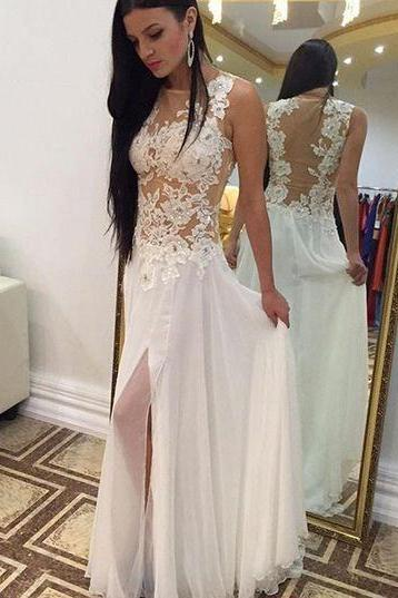 White Lace Prom Dresses,Long Split Chiffon Prom Dresses, Evening Dresses