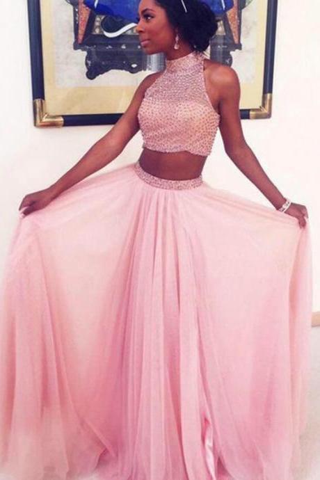 High Neck Prom Dress,Pink Prom Dresses,Long Evening Dress