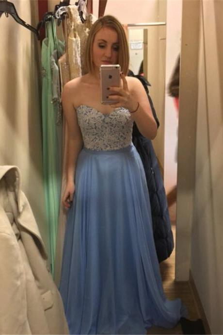Sweetheart Prom Dress,A-Line Prom Dresses,Long Evening Dress