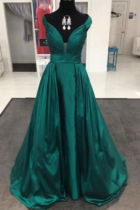 Green Prom Dress,Satin Prom Dresses,Long Evening Dress