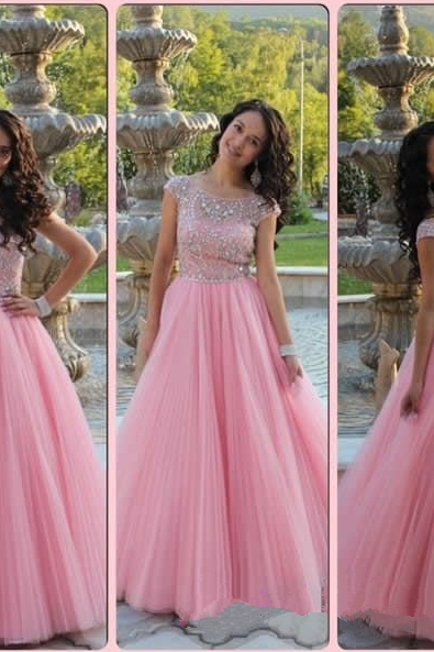 Pink A-Line Prom Dress,Cap Sleeve Prom Dresses,Evening Dress