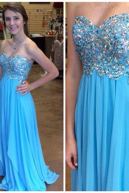 Sweetheart Strapless Prom Dress,A-Line Blue Prom Dresses,Evening Dress