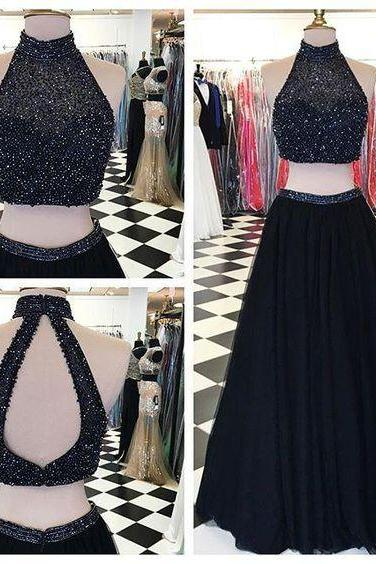 Black Beaded Prom Dress,Two Piece Long Prom Dresses