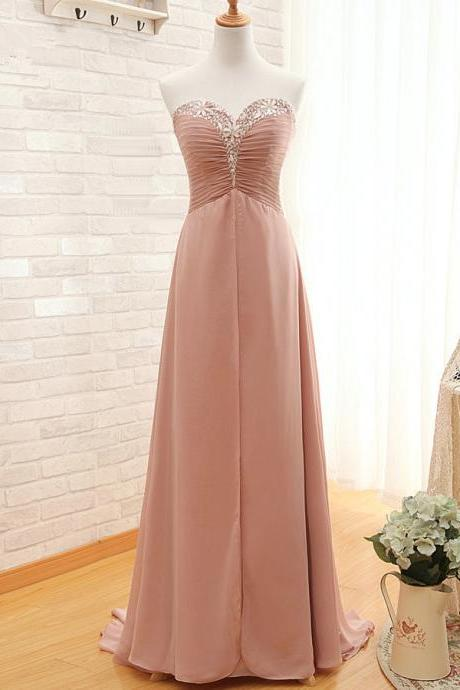 Sweetheart A-Line Prom Dress,Long Chiffon Prom Dresses