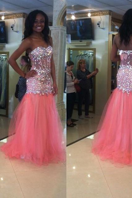 Mermaid Floor Length Prom Dress,Pink Prom Dresses Prom Dresses,Evening Dress