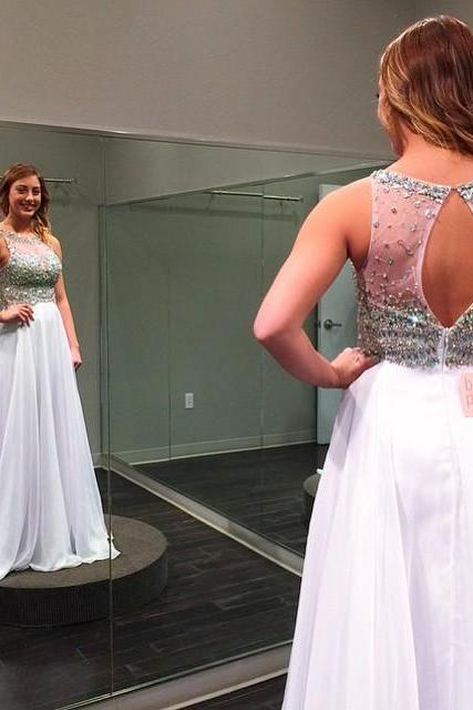 Sparkly A-Line Prom Dress,Long White Prom Dresses