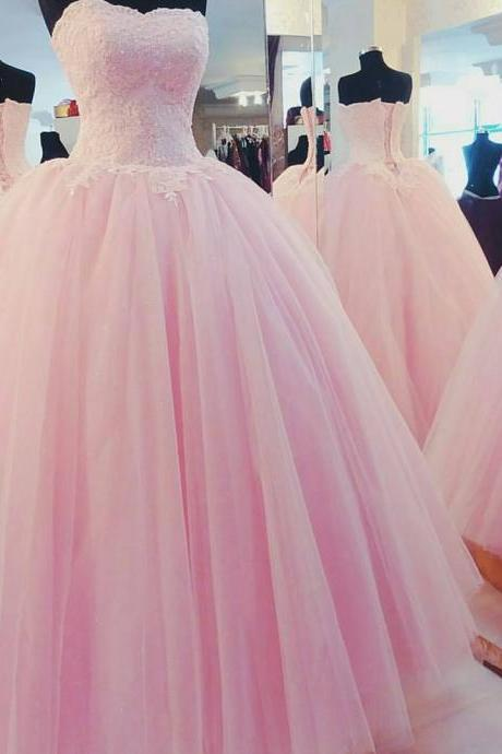 New Arrival Prom Dress,Modest Prom Dress,pink tulle wedding dresses lace appliques,ball gown wedding dresses