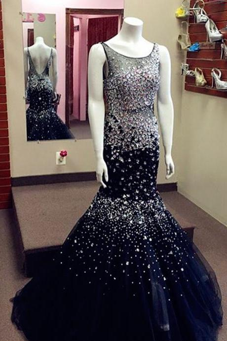 New Arrival Prom Dress,Modest Prom Dress,navy blue prom dress,crystal beaded mermaid prom dress,luxury evening gowns
