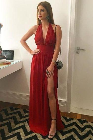V-Neck Chiffon Prom Dress,Long Prom Dresses,Charming Prom Dresses,Evening Dress, Prom Gowns, Formal Women Dress,prom dress