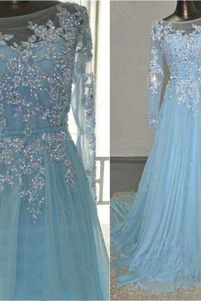 long prom dress, prom dress, blue prom dress, A-line prom dress, backless prom dress, dress gown
