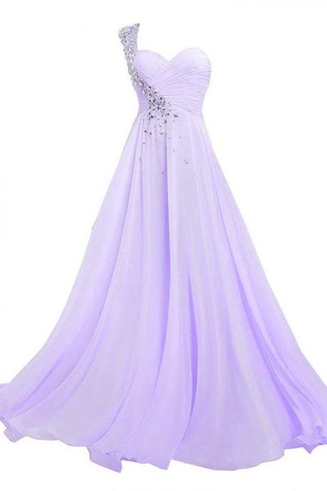 Women's One Shoulder Long Bridesmaid Prom Dresses Sweetheart Chiffon Evening Gowns with Crystal PD089