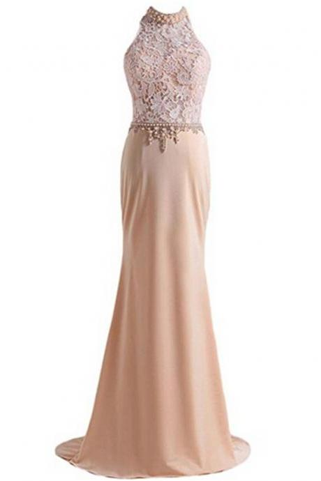Women's Chiffon Lace Prom Dresses with Beadings High Neck Evening Dress Long Sheath Homecoming Dress
