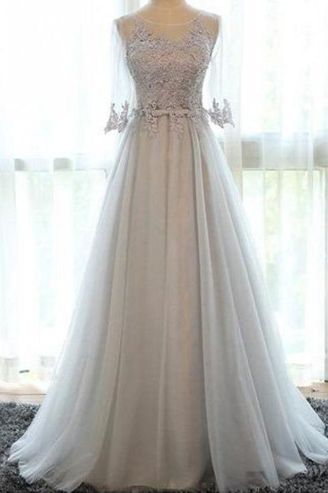 Women's Tulle Lace Evening Dress 3/4 Sleeves Prom Gown Open Back Homecoming Dress Appliques Prom Dress
