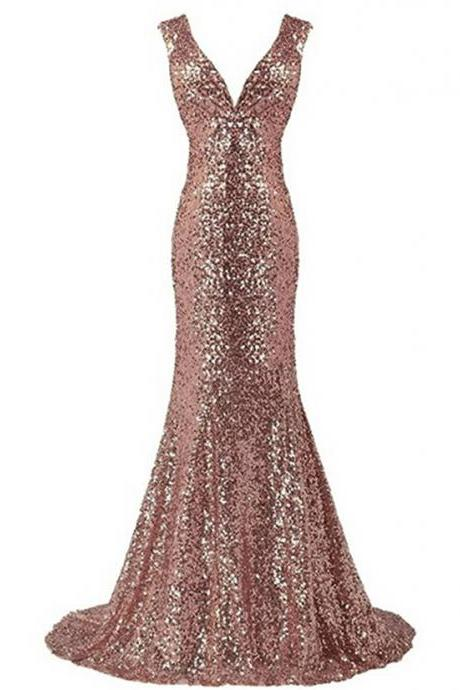 Women's Gold Mermaid Prom Dress Sequins Evening Gown V-eck Bridesmaid Dress Long Prom Party Gown