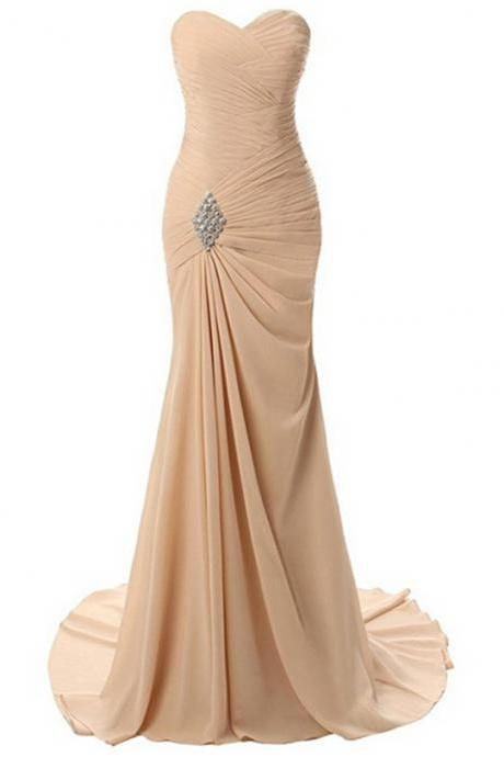 Women's Sweetheart Prom Dress Mermaid Long Evening Dress Chiffon Bridesmaid Dress Formal Prom Gowns