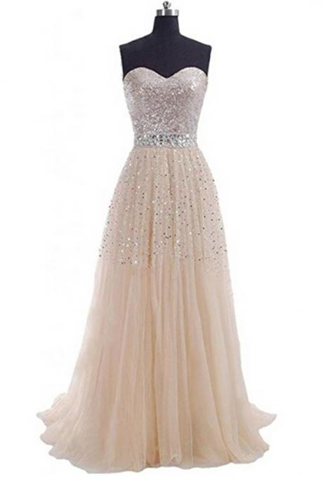 Women's Exquisite Tulle Prom Dresses Sweetheart Party Gowns Sequins A-Line Prom Gown Long Evening Dress