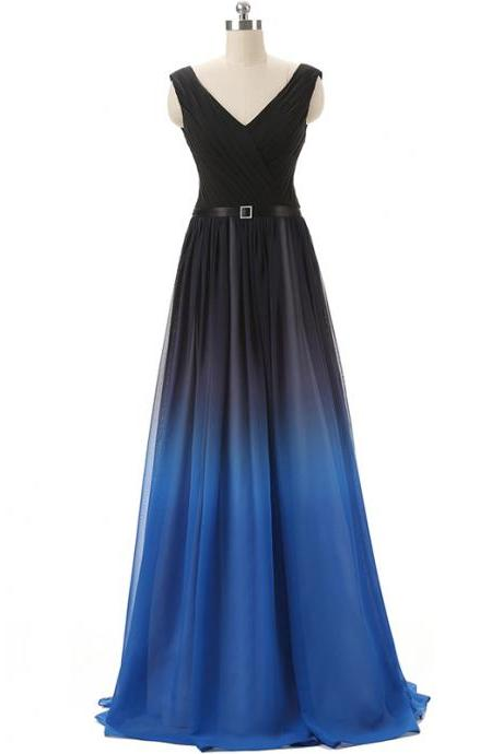 Lovely Black and Blue Handmade Gradient Prom Dresses, Prom Dresses, Long Prom Dresses