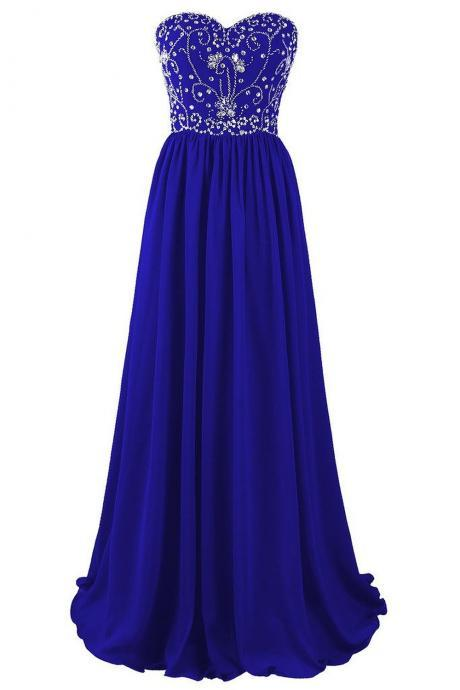 Beautiful Blue Chiffon Beaded A-line Prom Dresses 2017, Blue Long Prom Gowns, Party Dresses, Evening Dresses