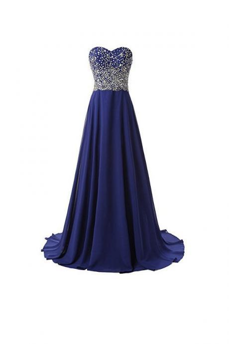 Beautiful A Line Prom Dresses Chiffon Sweetheart Evening Dresses