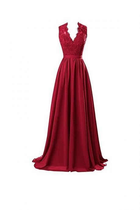Beautiful A-line V Neck Open Back Chiffon Long Evening Gown with Lace