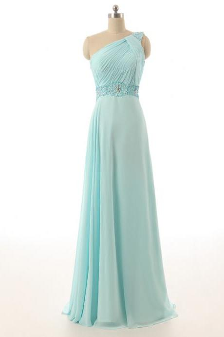 Light Blue Floor Length Chiffon A-Line Prom Dress Featuring Ruched One Shoulder Bodice and Beaded Embellishments