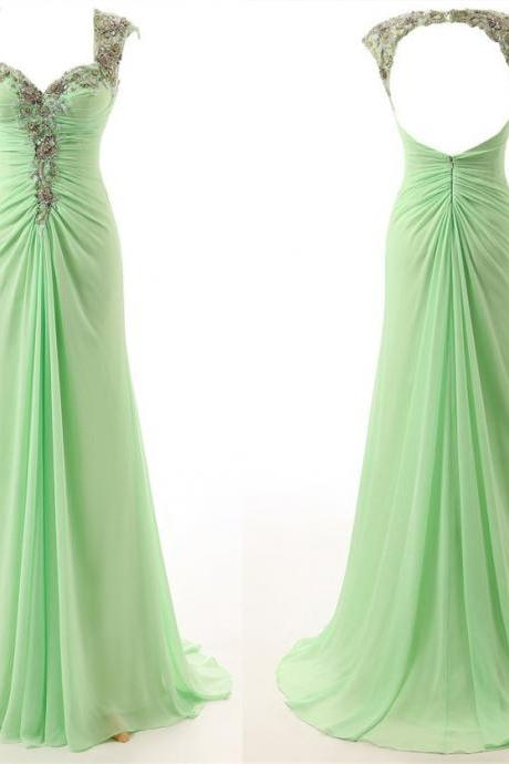2017 High Quality Mint Green Prom Dresses,New Cap Sleeves Evening Dresses,Sexy Mermaid Prom Dress