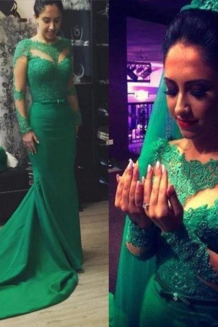 Elegant Lace Long Sleeves Mermaid Long Prom Dresses, Custom Made Satin Formal Evening Gowns 2017