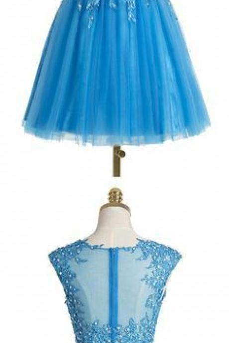 Two pieces Homecoming Dress,Blue Homecoming Dress,Popular Homecoming Dress, Junior Homecoming Dress with appliques,Graduation Dress , Homecoming Dress ,Prom Dress for Teens,17658