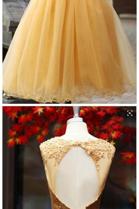 Sequin Homecoming Dress,Sleeveless Homecoming Dress,Tulle Homecoming Dress, Gold Homecoming Dress,Graduation Dress , Homecoming Dress ,Prom Dress for Teens