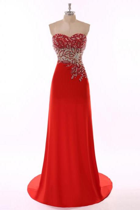 Robe De Soiree Long Sweetheart Red Long Evening Dress 2017 New Arrival Luxury Beaded Rhinestone Evening Gowns Formal Dresses