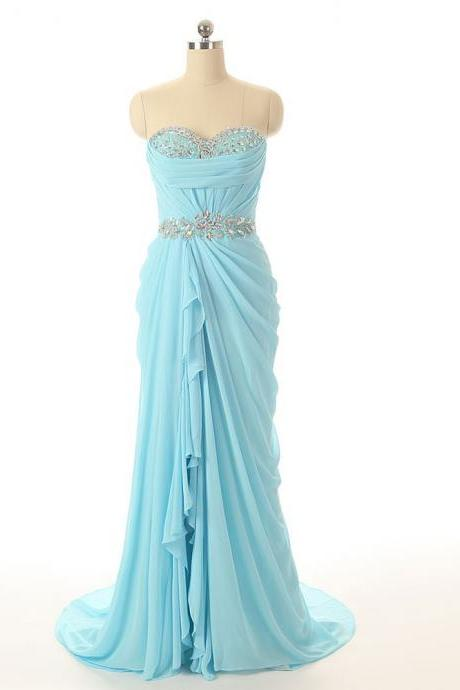 Prom Dresses 2016 Sleeveless Chiffon Light Blue Graduation Dress Robe Bal De Promo Long Ombre Prom Dress RQE786