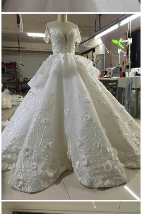 Real Photo Double V-Neck Organza short Wedding Dress 2017 Illusion Chapel Train Hand Made Bridal gown Back Button Size Plus