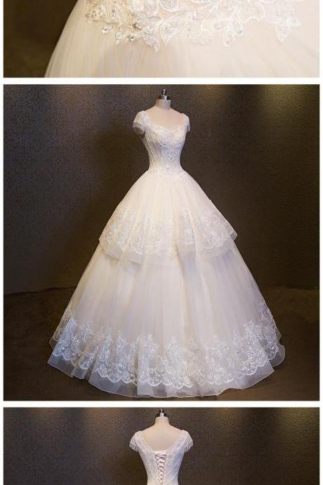 Wedding Dress Double V-neck luxury Ball Gown Collar Crystals Cap Sleeve Backless lace up Back Crystals robe de mari bridal dresses