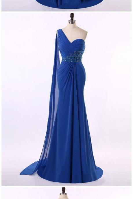 One Shoulder Amazing Royal Blue Chiffon Beading Trumpet/Mermaid Prom Dresses