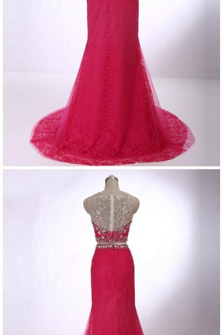 Trumpet/Mermaid Scoop Neck Lace Tulle with Beading Two Pieces Prom Dress