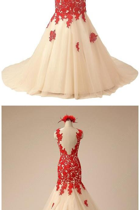 Online Trumpet/Mermaid Scoop Neck Tulle Court Train Appliques Lace Red Prom Dresses
