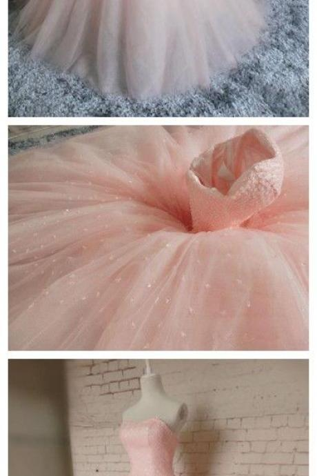 Pink Prom Dresses,Ball Gown Prom Dress,Tulle Prom Dress,Simple Prom Dress,Tulle Prom Dress,Simple Evening Gowns,Cheap Party Dress,Elegant Prom Dresses, Formal Gowns For Teens