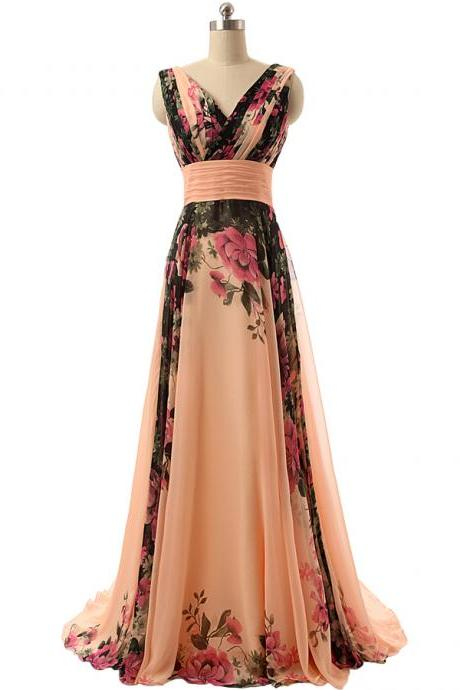 Bridesmaid Dresses,New-Classic Shoulder Flowers Pattern Print Chiffon Long Prom Dresses