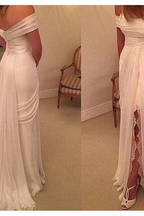 Sexy white prom dress, side split lace prom dress, cheap simple wedding dress, 2017 unique prom dress, evening dress, wedding dress, long prom dress, 155241