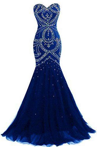 Beaded Embellished Floor Length Tulle Mermaid Prom Dress Featuring Sweetheart Bodice
