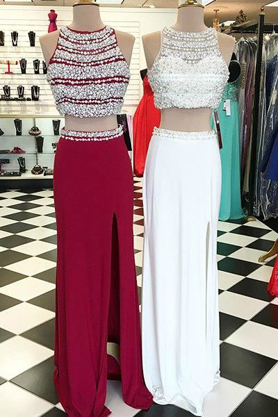 Sexy Two Pieces Red Beaded Evening Prom Dresses, Long Beaded Party Prom Dress, Custom Long Prom Dresses, Cheap Formal Prom Dresses,