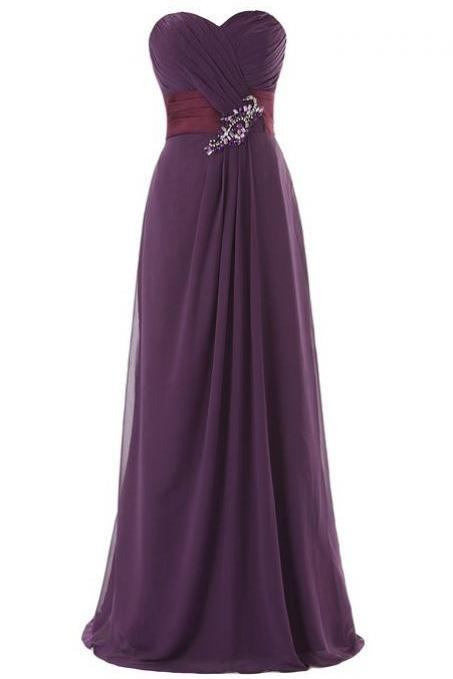 Purple Floor Length Chiffon Sheath Evening Dress Featuring Ruched Sweetheart Bodice with Jewelled Embellishment