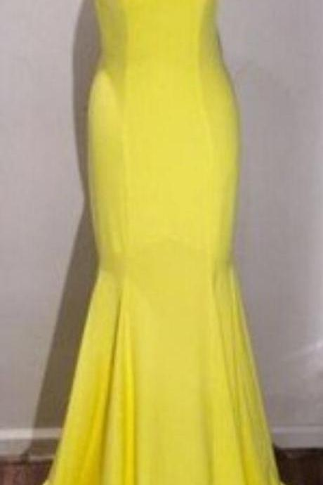 yellow prom dress,formal Prom Dresses,long Prom Dresses,backless prom dress,elegant evening dress