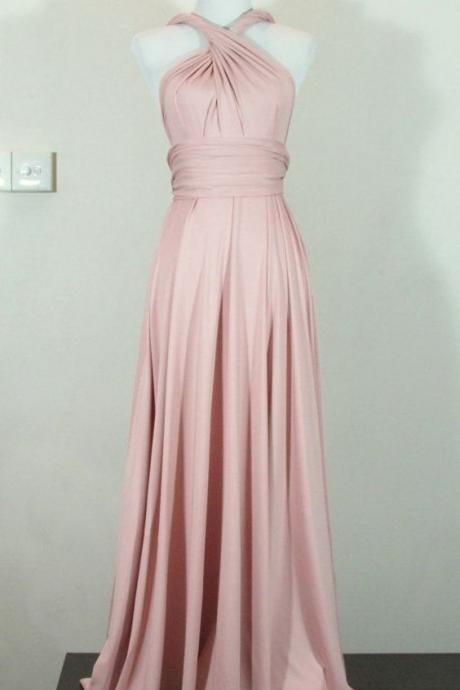 Simple Style Sheath Prom Dress Blush Halter Chiffon Long Prom Dresses Party Dress