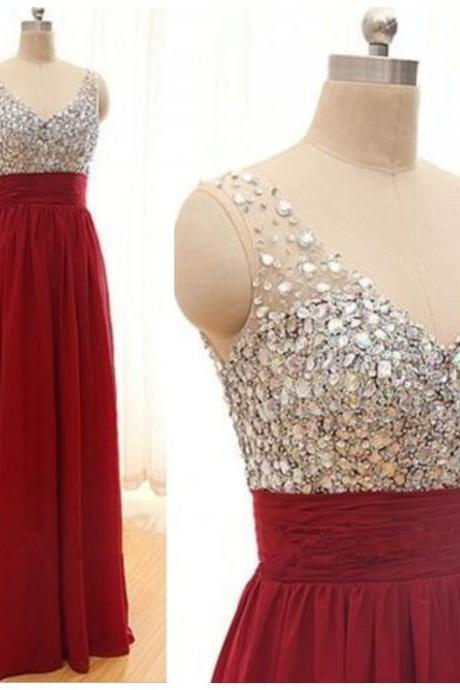 Red Prom Dresses,Long Prom Dresses,Charming Prom Dress,V neck Prom Dress,Party Dress,Bridesmaid dress