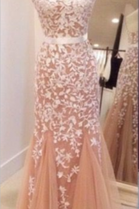 Champagne Formal Gown Long Prom Dress With White Appliques 2017 Bateau Neck Capped Sleeve Open Back Mermaid Party Dress Cheap Dresses Backless Sexy