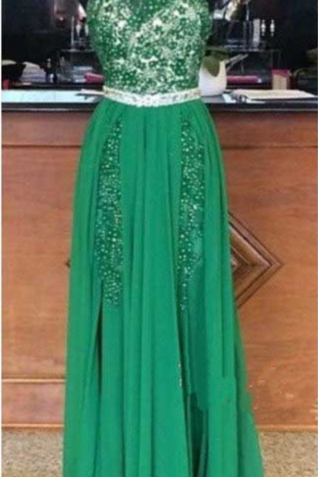 Green Prom Dress Two Sides Split Youth Dress Halter Neck Open Back Full Beaded Unique Designer Chiffon Dresses Classic Tradition