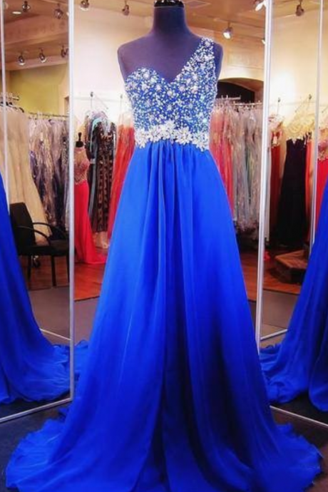 Royal Blue Prom Dresses Backless One Shoulder Designer Beaded Crystal Prom Dress Formal Dress Evening Gowns Long