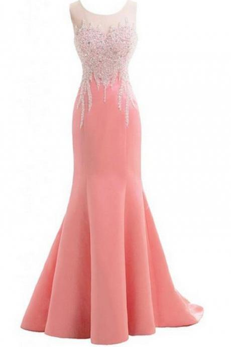 pink Crop Neck Prom Dresses Mermaid With Sequin Beaded Satin Fabric Long Cheap Evening Formal Pageant Dress Gowns New